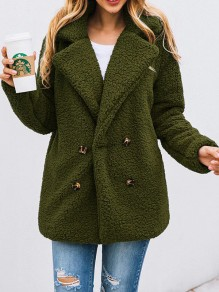 Army Green Button Turndown Collar Long Sleeve Oversize Fashion Teddy Coat