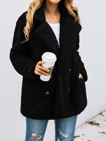 Black Button Turndown Collar Long Sleeve Oversize Fashion Teddy Coat