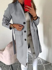 Grey Button Pocket Turndown Collar Long Sleeve Elegant Wool Coat