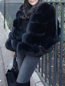 Black Faux Fur Oversized Turndown Collar Long Sleeve Outerwear