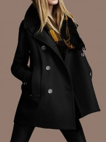 Black Patchwork Pockets Skirted Peacoat Turndown Collar Fashion Outerwears