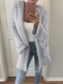 Grey Pocket Long Sleeve Hooded Sweet Cardigan Outerwear