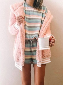 Pink Pocket Hooded Long Sleeve Oversize Sweet Teddy Coat