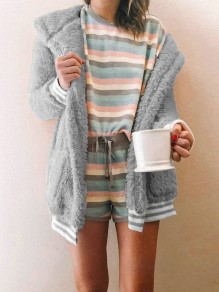 Grey Pocket Hooded Long Sleeve Oversize Sweet Teddy Coat