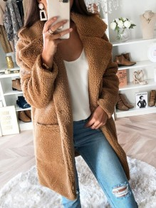 Pink Pocket Turndown Collar Long Sleeve Oversize Teddy Coat