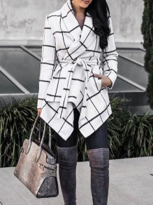 White-Black Plaid Irregular Pockets Sashes Turndown Collar Cardigan Coat