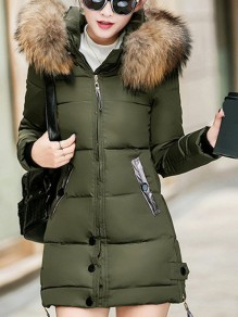 Army Green Pocket Fur Zipper Hooded Long Sleeve Fashion Padded Coat