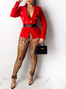 Red Double Breasted Turndown Collar Elegant Party Blazer Coat