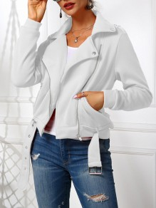 White Patchwork Zipper Buckles Pastel Long Sleeve Fashion Outerwear