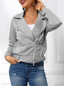 Light Grey Patchwork Zipper Buckles Pastel Long Sleeve Fashion Outerwear