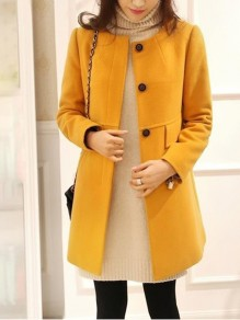 Yellow Patchwork Buttons Pockets Plus Size Round Neck Fashion Outerwear