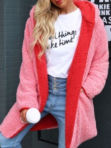Pink Red Multi Way Hooded Long Sleeve Oversize Teddy Coat