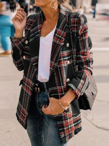Black-Red Plaid Pockets Double Breasted Turndown Collar Casual Preppy Blazer Wool Coat