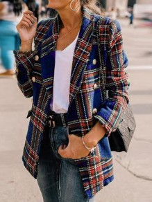 Blue-Red Plaid Pockets Double Breasted Turndown Collar Casual Preppy Blazer Wool Coat