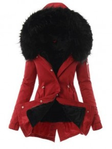 Red Black Fur Pocket Hooded Long Sleeve Fashion Padded Coat