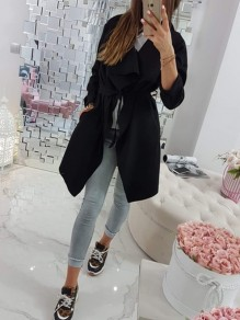 Black Patchwork Lace Up Irregular Turndown Collar Fashion Outerwear