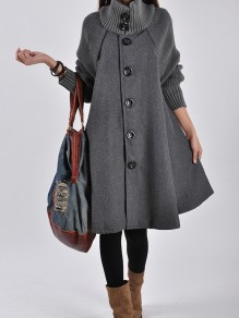 Grey Button Pocket High Neck Long Sleeve Elegant Wool Coat