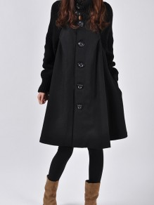 Black Button Pocket High Neck Long Sleeve Elegant Wool Coat