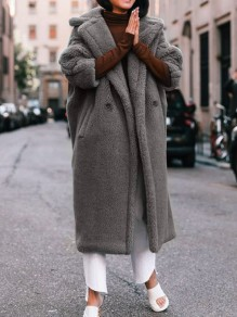 Grey Pocket Button Turndown Collar Long Sleeve Oversize Teddy Coat