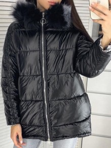 Black Fur Zipper Hooded Long Sleeve Fashion Padded Coat