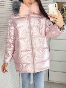 Pink Fur Zipper Hooded Long Sleeve Fashion Padded Coat