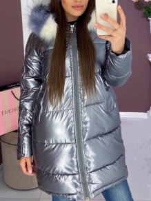 Silver Fur Zipper Hooded Long Sleeve Fashion Padded Coat
