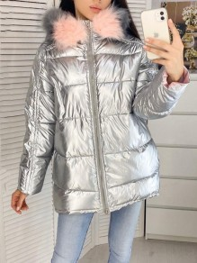 White Fur Zipper Hooded Long Sleeve Fashion Padded Coat
