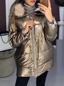Champagne Fur Zipper Hooded Long Sleeve Fashion Padded Coat