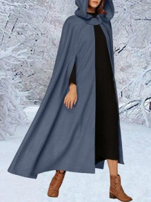 Blue Lace-up Flowy Elegant Vintage Hooded Long Cape Coat