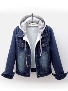 Dark Blue Button Drawstring Lamb Wool Long Sleeve Hooded Fashion Jean Coat