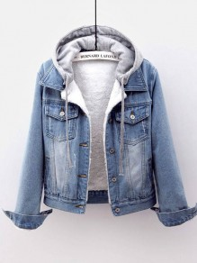 Light Blue Button Drawstring Lamb Wool Long Sleeve Hooded Fashion Jean Coat