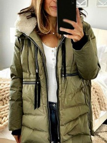Army Green Pocket Zipper Hooded Long Sleeve Fashion Padded Coat