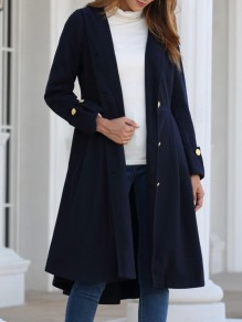 Navy Blue Button Pocket Long Sleeve Hooded Elegant Wool Coat