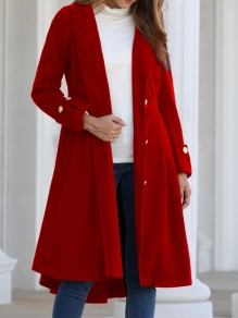 Red Button Pocket Long Sleeve Hooded Elegant Skater Wool Dress Coat