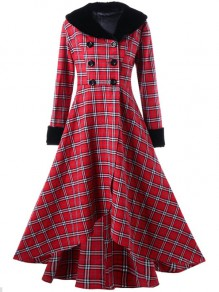 Red Buffalo Plaid Button Fur Vintage Long Sleeve Elegant Wool Coat Dress
