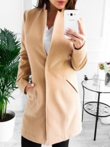 Khaki Pockets Bodycon Long Sleeve Going out Outerwear