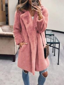 Pink Pockets Faux Fur Turndown Collar Teddy Fuzzy Parka Cardigan Coat