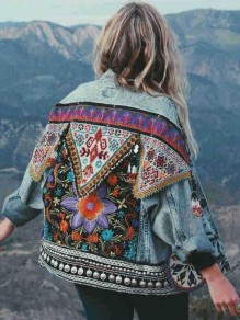 Blue Tribal Floral Embroidery Turndown Collar Vintage Denim Cardigan Coat
