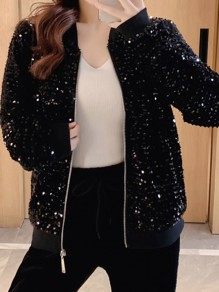 Black Zipper Sequin Sparkly V-neck Long Sleeve Fashion Jacket Coat