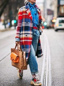 Red Plaid Double Breasted Long Sleeve Elegant Wool Coat