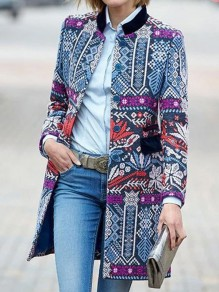 Blue Tribal Floral Print Long Sleeve Elegant Wool Coat