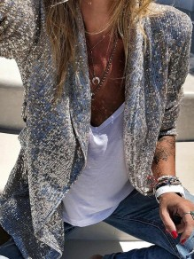 Silver Sequin Tailored Collar Long Sleeve Glitter Sparkly Birthday Party NYE Blazer