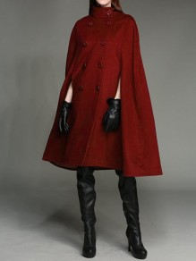 Red Double Breasted Band Collar Elegant Cape Wool Coat