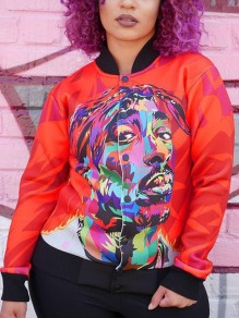 Red Rock and Roll Painting Print Zipper Rock Festival Long Sleeve Jacket Coat
