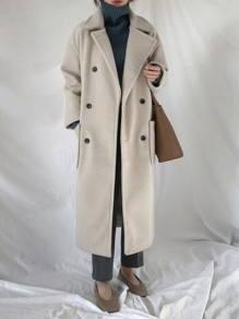 White Patchwork Buttons Pockets Turndown Collar Long Sleeve Fashion Outerwear