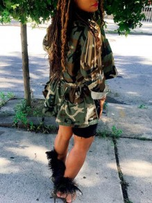 Army Green Camouflage Pattern Single Breasted Swallowtail High-low Turndown Collar Casual Coat