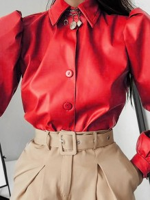 Red Patchwork PU Leather Buttons Turndown Collar Long Sleeve Fashion Outerwear