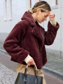 Burgundy Pockets Faux Fur Turndown Collar Long Sleeve Thick Warm Teddy Sherpa Jacket