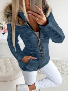 Blue Patchwork Faux Fur Bright Leather Plus Size Hooded Fatigue Parka Coat