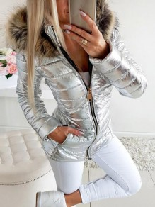 Silver Patchwork Faux Fur Bright Leather Plus Size Hooded Fatigue Parka Coat